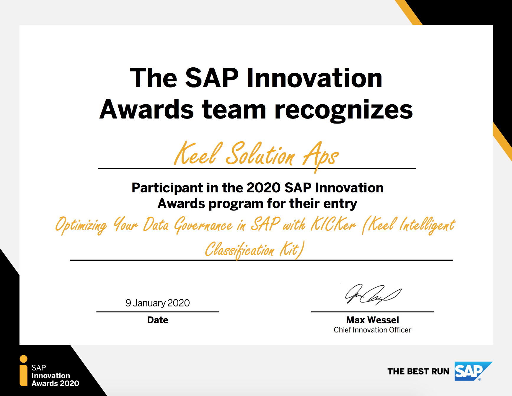 SAP Innovation Awards 2020 Keel
